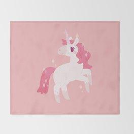 Pretty Pink Unicorn Throw Blanket