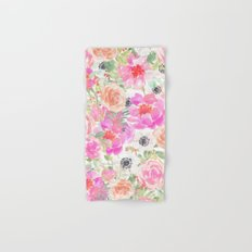Modern pink coral watercolor hand painted floral Hand & Bath Towel