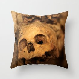 Skulls in the catacombs in Paris, France. Throw Pillow