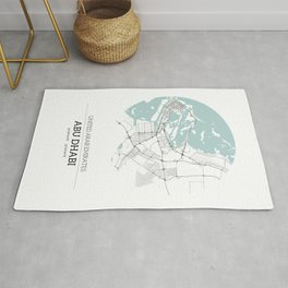 Abu Dhabi City Map with GPS Coordinates Rug