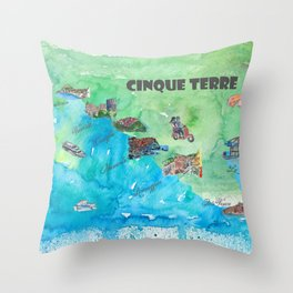 Cinque 5 Terre Italy Favorite Travel Map with touristic Top Ten Highlights Throw Pillow