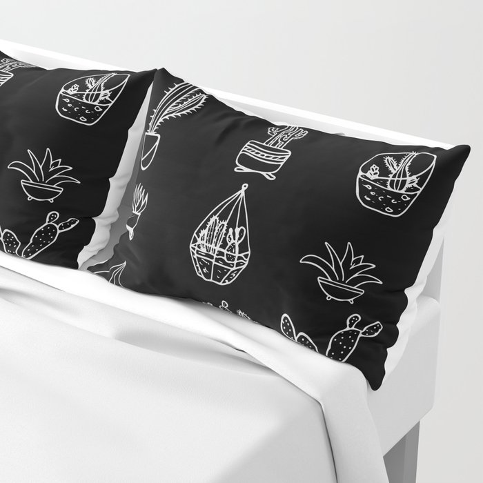 Minimalist Cacti Collection White on Black Pillow Sham
