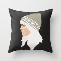 feminist Throw Pillows featuring Feminist (Silver) by Anna McKay