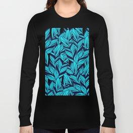 Blue Banana Leaf Pattern Long Sleeve T-shirt
