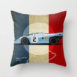 Le Mans Racetrack Vintage Throw Pillow