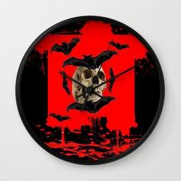 BAT INFESTED HAUNTED SKULL ON BLEEDING RED ON RED  ART Wall Clock
