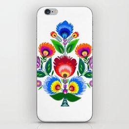 colorful folk flowers iPhone Skin
