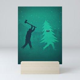 Funny Christmas Tree Hunted by lumberjack (Funny Humor) Mini Art Print