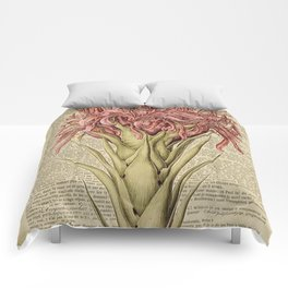 Book Art Page Pink Flower Comforters