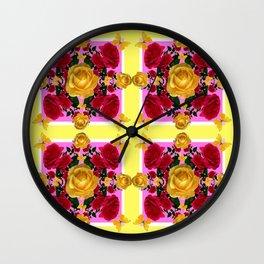RED-YELLOW ROSES & YELLOW BUTTERFLIES ART Wall Clock