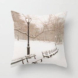 Snowing in Central Park Throw Pillow