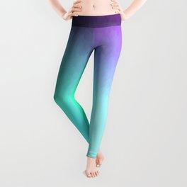 Six Color Ombre Cyan, Purple, Green, Pink, Purple, Blue, Spectrum Flame Texture  Leggings