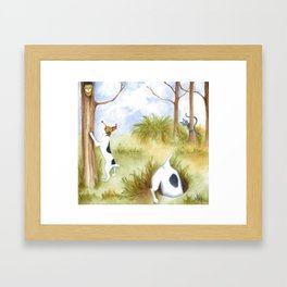 Busy Dogs Original art dog painting with cat and owl  Framed Art Print