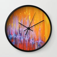 talking heads Wall Clocks featuring The Bar is Called Heaven/Talking Heads by Jeannette Stutzman
