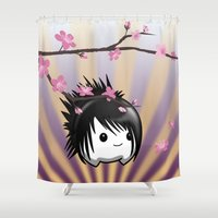asia Shower Curtains featuring Zen Cumi by Goat Games