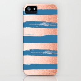 Trendy Stripes Sweet Peach Coral Pink + Saltwater Taffy Teal iPhone Case