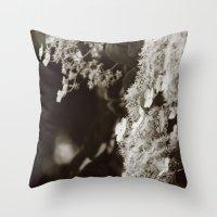climbing Throw Pillows featuring Climbing hydrangea by Christine baessler