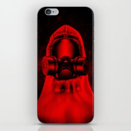 Toxic environment RED / Halftone hazmat dude iPhone Skin