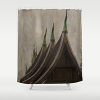 buddhism Shower Curtains featuring Temple of the golden city Luang Prabang Laos by Maria Heyens