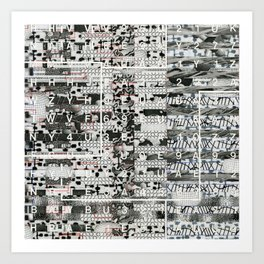 Crossing the Threshold of Sticky Potential (P/D3 Glitch Collage Studies) Art Print
