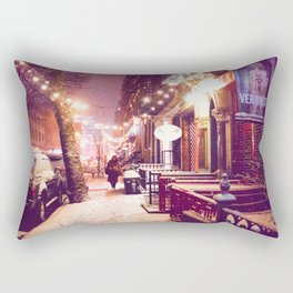 Winter Night with Snow in the East Village New York City Rectangular Pillow