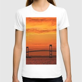 Newport Bridge - Newport, Rhode Island Orange Sunset T-shirt