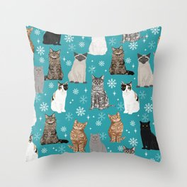 Cat breeds snowflakes winter cuddles with kittens cat lover essential cat gifts Throw Pillow