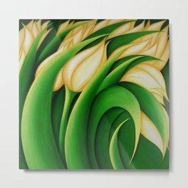 Stylized Yellow Tulips Metal Print
