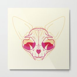 Yellow and Pink Sphynx Cat Skull Overlay - Hairless Kitty Trippy Line Art Metal Print