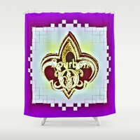 fleur de lis Shower Curtains featuring Fleur De Lis Purple  by Tina Vaughn