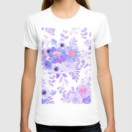 Lilac lavender violet pink watercolor elegant floral T-shirt