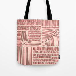 Digital Stitches whole beige + red Tote Bag
