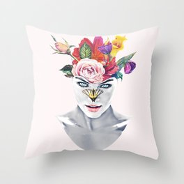 Vintage Floral and Butterfly Face Throw Pillow