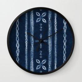 Indigo shibori floral stripes Wall Clock