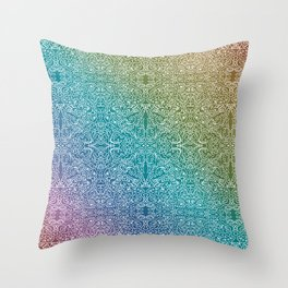 muted rainbow doodle gradient pattern Throw Pillow