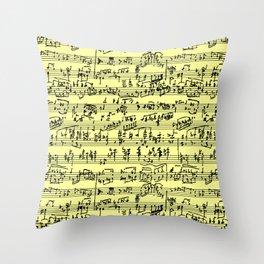 Hand Written Sheet Music // Canary Yellow Throw Pillow