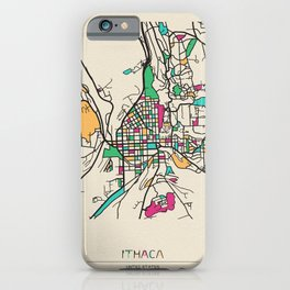 Colorful City Maps: Ithaca, New York iPhone Case