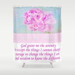 Serenity Prayer With Pink Peony Shower Curtain