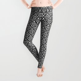 Scroll Damask Pattern White on Black Leggings