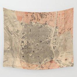 Vintage Map of Madrid Spain (1861) Wall Tapestry