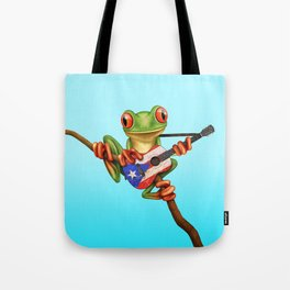 Tree Frog Playing Acoustic Guitar with Flag of Puerto Rico Tote Bag