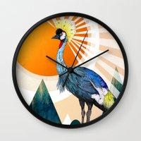 crane Wall Clocks featuring Crowned Crane by Sandra Dieckmann