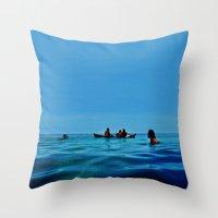 pennywise Throw Pillows featuring Island Sundays by John Medbury (LAZY J Studios)