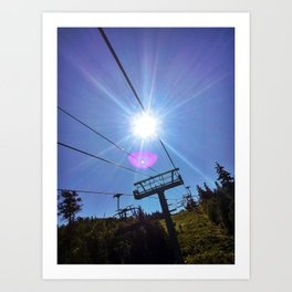 Chairlift Sunburst at Sugarloaf Mountain, Maine Art Print