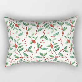 Festive Holly Pattern Rectangular Pillow