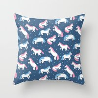 unicorns Throw Pillows featuring Unicorns by Sara Maese