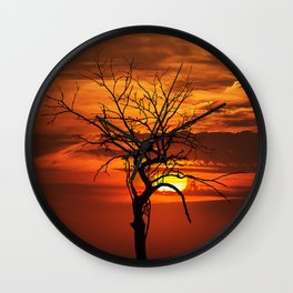 Scary witchy naked tree on sunset Wall Clock