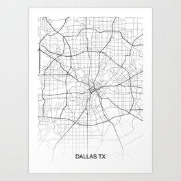 Dallas TX Texas Map White Usa Art Print