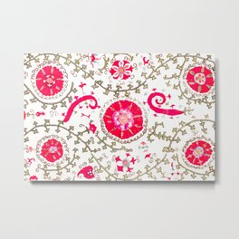 Whimsical Wildflower Red II // 19th Century Colorful Fuchsia Green Ornate Watercolor Pattern Metal Print