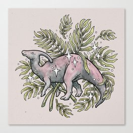 Parasaurolophus & Palms | Dinosaur Botanical Art Canvas Print